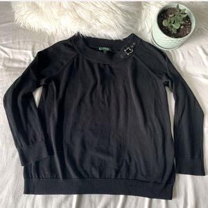 Lauren Ralph Lauren Black Cotton Buckle Sweater